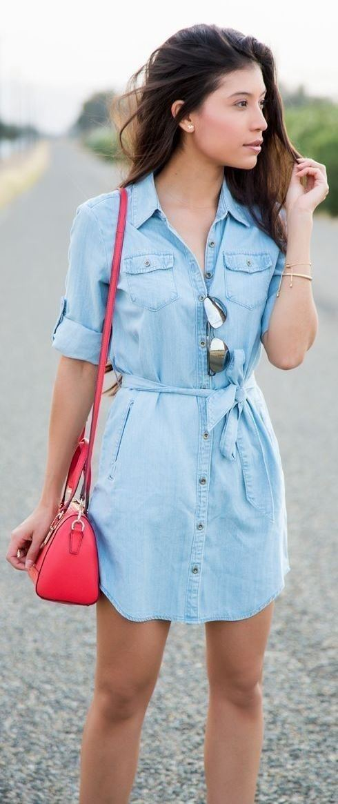 casual style perfection / denim shirt dress and red bag