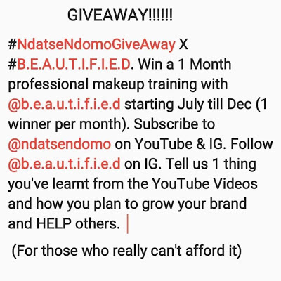 Ndatse Ndomo GIVEAWAY!!! Win 1 Month Pro Makeup Training.