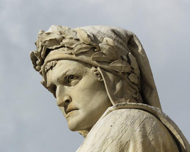 Detail of Dante Alighieri by Enrico Pazzi, Piazza di Santa Croce, Florence