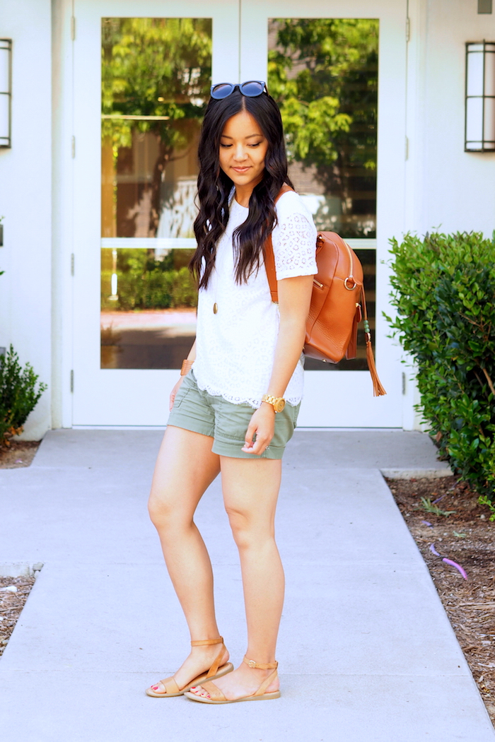 lace top + olive cargo shorts + tan accessories