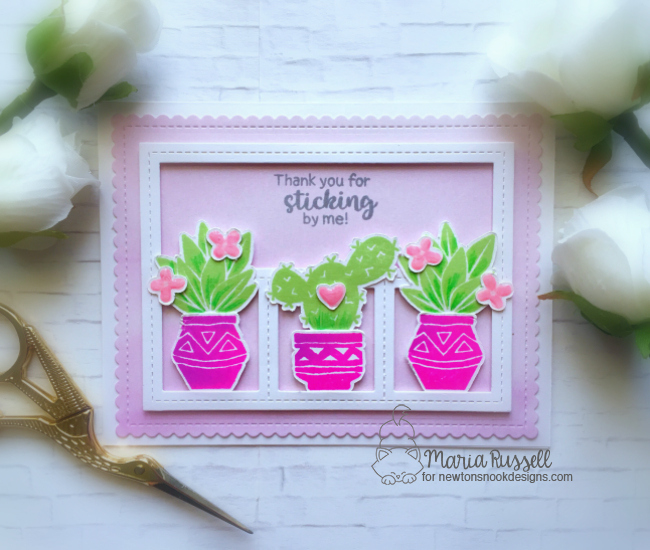 Cactus card by Maria Russell   Cultivated Cacti stamp sets and die set by Newton's Nook Designs #newotnsnook