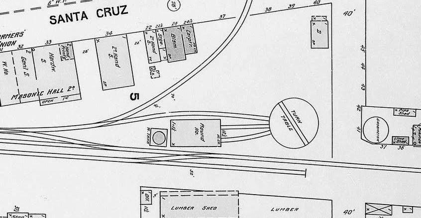 Santa cruz trains railroads of the monterey bay sanborn map showing the standard gauge los gatos freight yard 1904 uc santa cruz digital map malvernweather Images