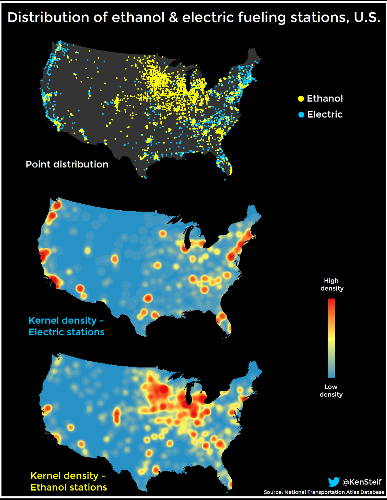 Distribution of electric and ethanol fuel stations in the United States