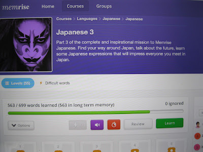 Learning Japanese with Memrise.