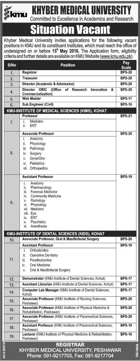 Medical Faculty Jobs in Khyber Medical University