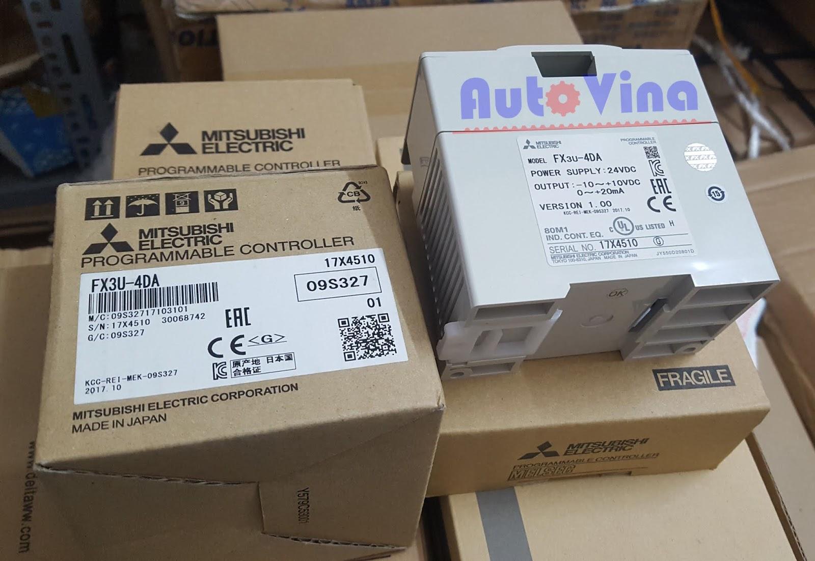 Module analog PLC Mitsubishi hàng mới new 100% Full box Module PLC Mitsubishi FX3U-4DA