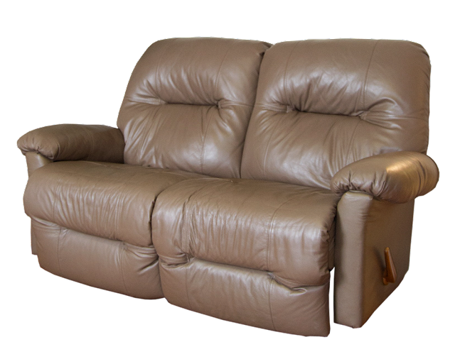 A double-reclining loveseat in beige leathe.