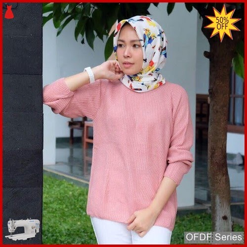 OFDF212 Atasan Blouse Basic Rajut Long sleeve BMGShop