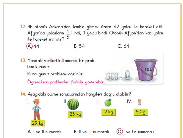 3. Sınıf Berkay Yayınları Matematik Ders Kitabı 205.Sayfa Cevapları 5. Ünite Değerlendirmesi