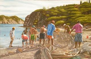 paisaje con pescadores en el rio