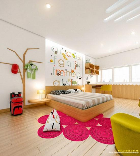 Bạn có thể sử dụng đồ nội thất màu trắng như bản thiết kế trên hoặc thay vào đó là nội thất gỗ. Bằng việc thêm đồ nội thất từ gỗ, căn phòng bớt chói hơn và sẽ phù hợp hơn với những người trẻ trưởng thành.