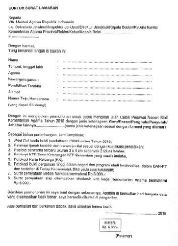 Contoh Surat Lamaran Cpns 2018 Guru Kementerian Agama Contoh