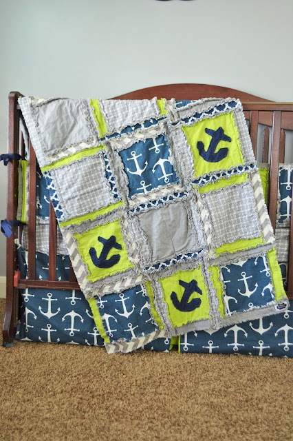 Nautical Baby Boy Crib Bedding in Navy Blue, Lime Green, and Grey