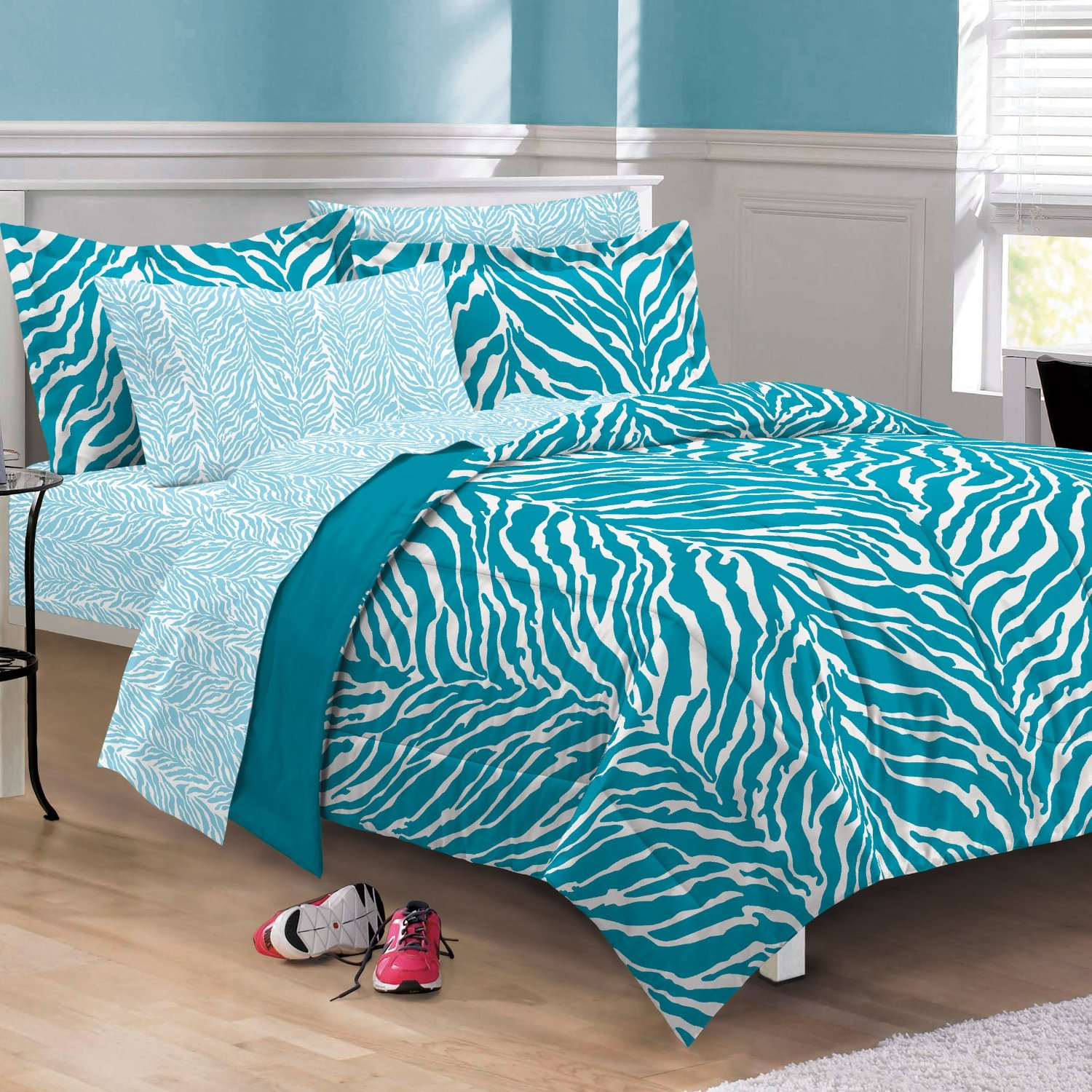 Total fab black white and turquoise bedding Zebra print bedding