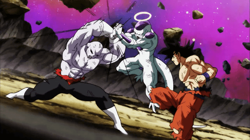 Lord Freiza and Goku teaming up against Jiren