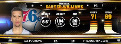 NBA 2K13 76ers Michael Carter-Williams - Round 1 11th Overall