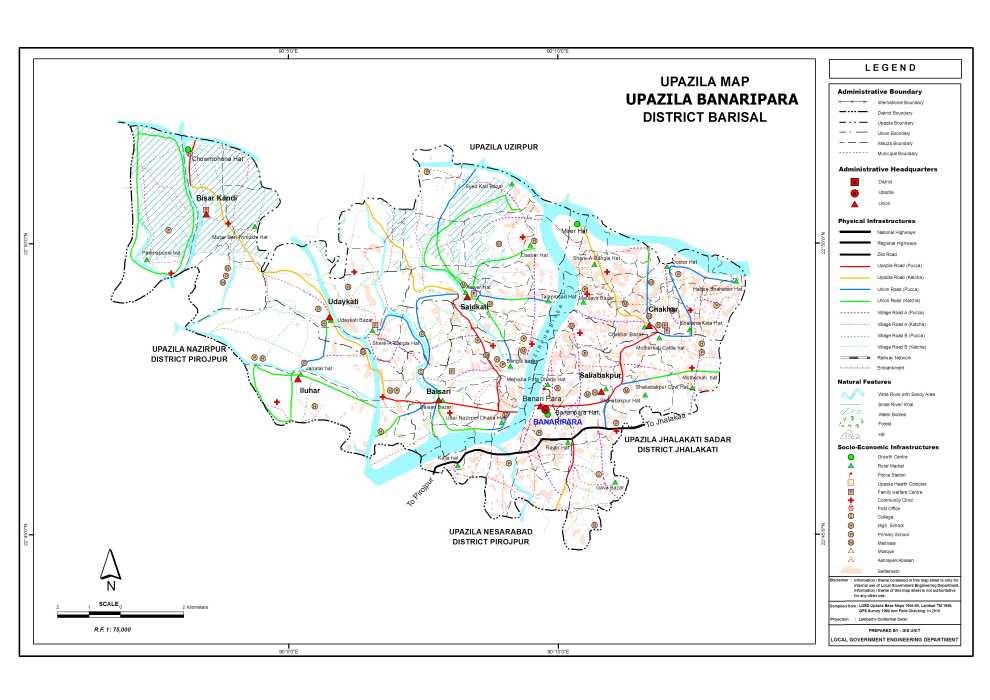 Banaripara Upazila Map Barisal District Bangladesh