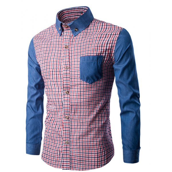 Button-Down Color Block Long Sleeve Plaid Shirt – L