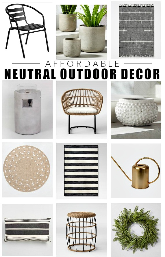 Affordable neutral outdoor decor