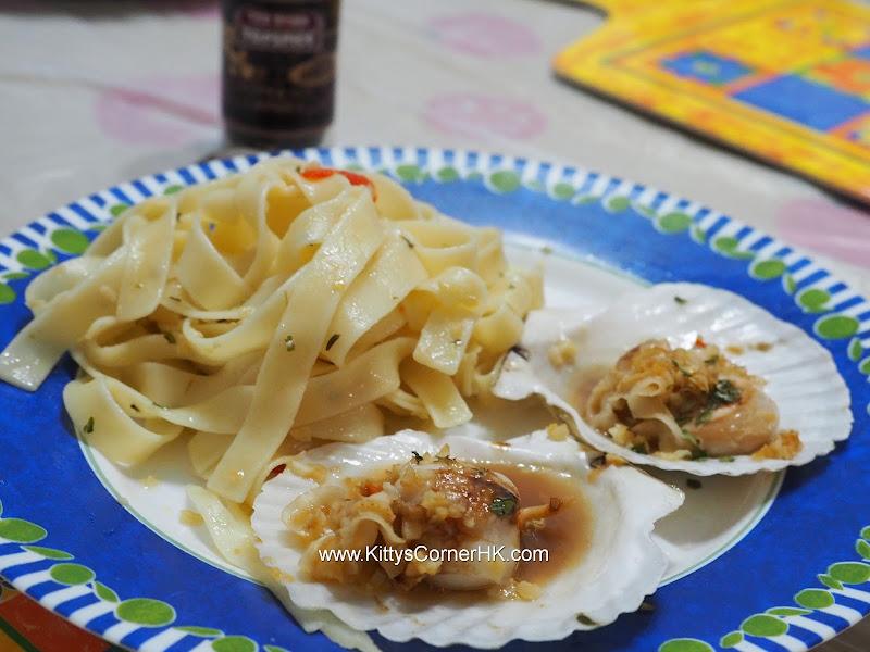 Scallops with Pasta recipe 香蒜橄欖油扇貝扁麵自家食譜