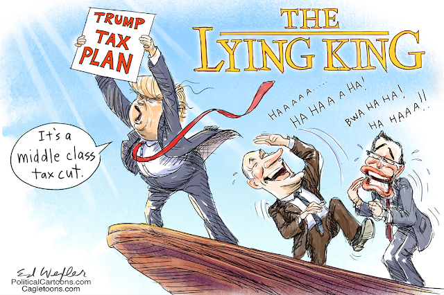 Title:  The Lying King.  Image:  Donald Trump on mountain holding sign saying