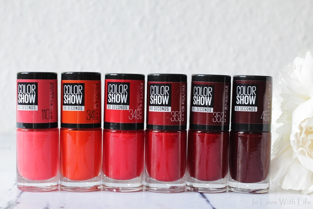 110 Urban Coral | 341 Orange Attack | 349 Power Red | 353 Red | 352 Downtown Red | 45 Cherry on the Cake