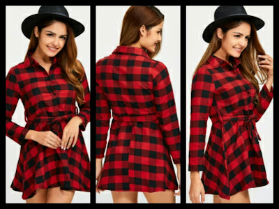 Koszula sukienka w kratkę / plaid shirt dress / Rosegal