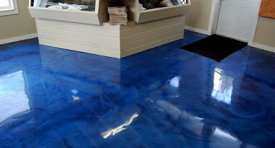 Metallic blue epoxy floor paint for interior flooring