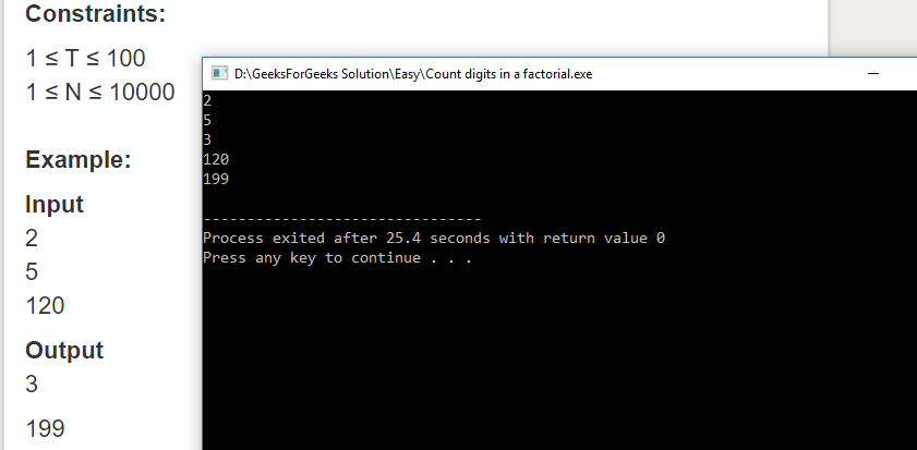 """Geeksforgeeks Solution For """" Count digits in a factorial """""""