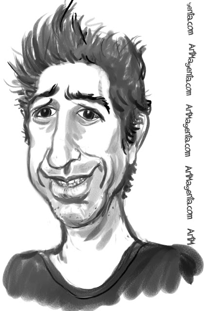 David Schwimmer caricature cartoon. Portrait drawing by caricaturist Artmagenta.