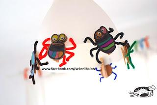Evde etkinlik - Komik renkli böcekler