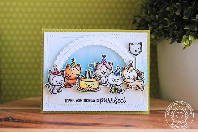 Sunny Studio Stamps: Purrfect Birthday Fancy Frames Shaker Birthday Card by Eloise Blue