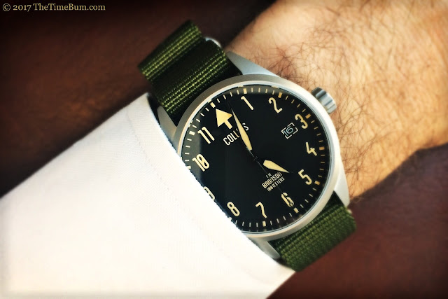 Collins Watch The Bronson silver bead blasted nato wrist shot