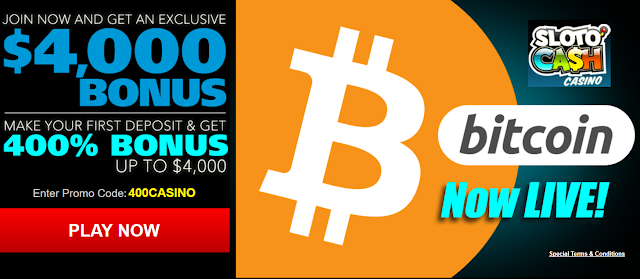 Sloto Cash Casino is now accepting Bitcoin!