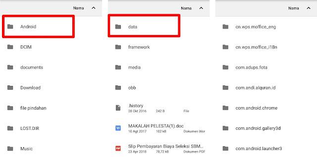 Cara kedua ialah dengan memindahkan file ke folder Android Data. Sobat cukup pilih file yang akan disembunyikan lalu pindahkan ke folder Android --> Data.