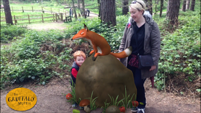 Screenshot of app showing Mummy, son and Fox from the Gruffalo
