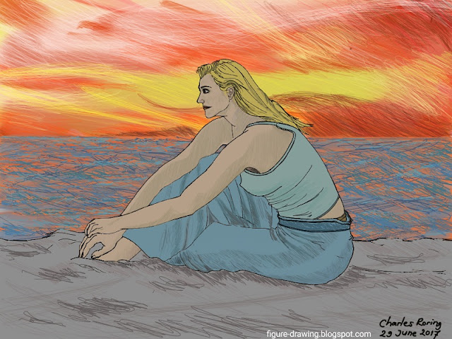Digital drawing of a lady during sunset time at the beach
