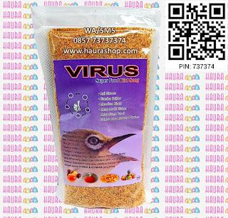 Voer Virus kaya akan nutrisi. Mengandung Vit A, Vit D3, Vit E, Zinc, Calsium oxide, Omega 3, Omega 9, DHA dengan Additives seimbang per kemasan 100gram.