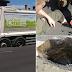 Calor na Inglaterra derrete asfalto e deixa homem e caminhão atolados