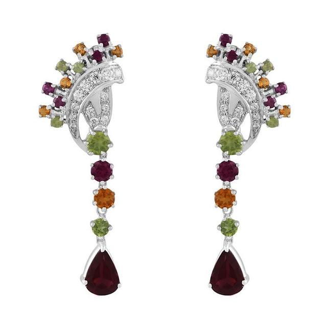 Fancy Shaped Multi-stone Silver Earrings by Velvetcase.com