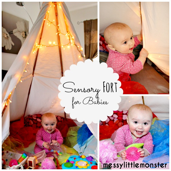 Sensory teepee fort for babies, DIY den
