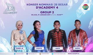 DA 4 Yang Tersenggol Tadi Malam Grup 2 Top 28 Besar 31 Januari 2017
