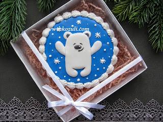 Имбирное печенье новогоднее Медвежонок, упаковка бежевый наполнитель