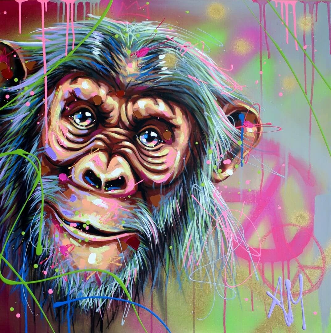 04-Chimpanzee-Andrea-Marqui-Bright-Paintings-of-Animal-Portraits-www-designstack-co
