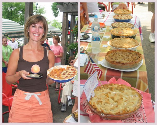 Pie baker Chris Berg with her First-Prize Peach Pie & other peach pie contect entries, a collage ♥ KitchenParade.com
