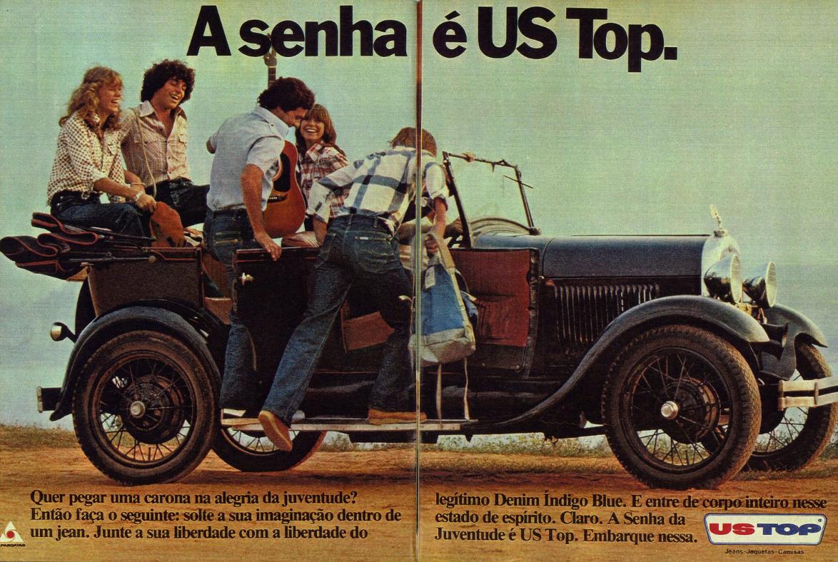Campanha da US Top nos anos 70 expressando liberdade à juventude daquela época