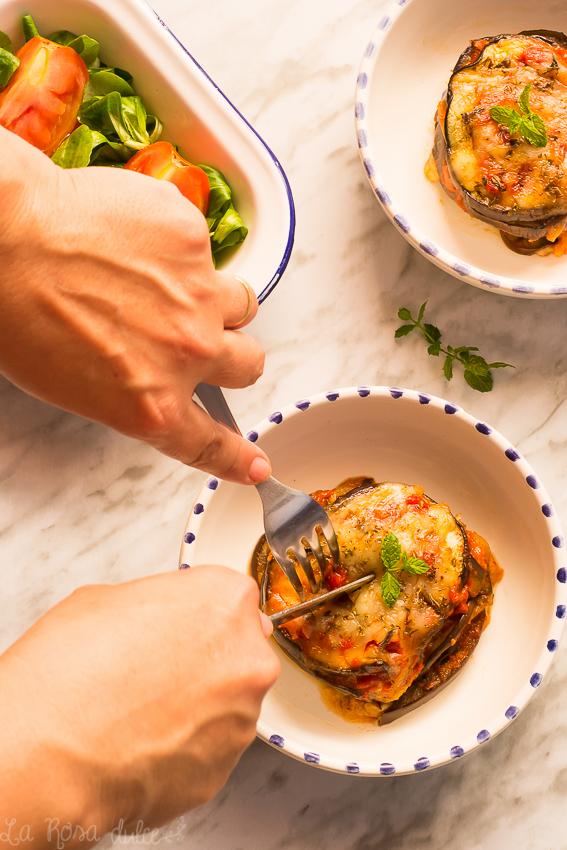 Berenjenas a la parmesasa | sin lactosa | la Rosa dulce