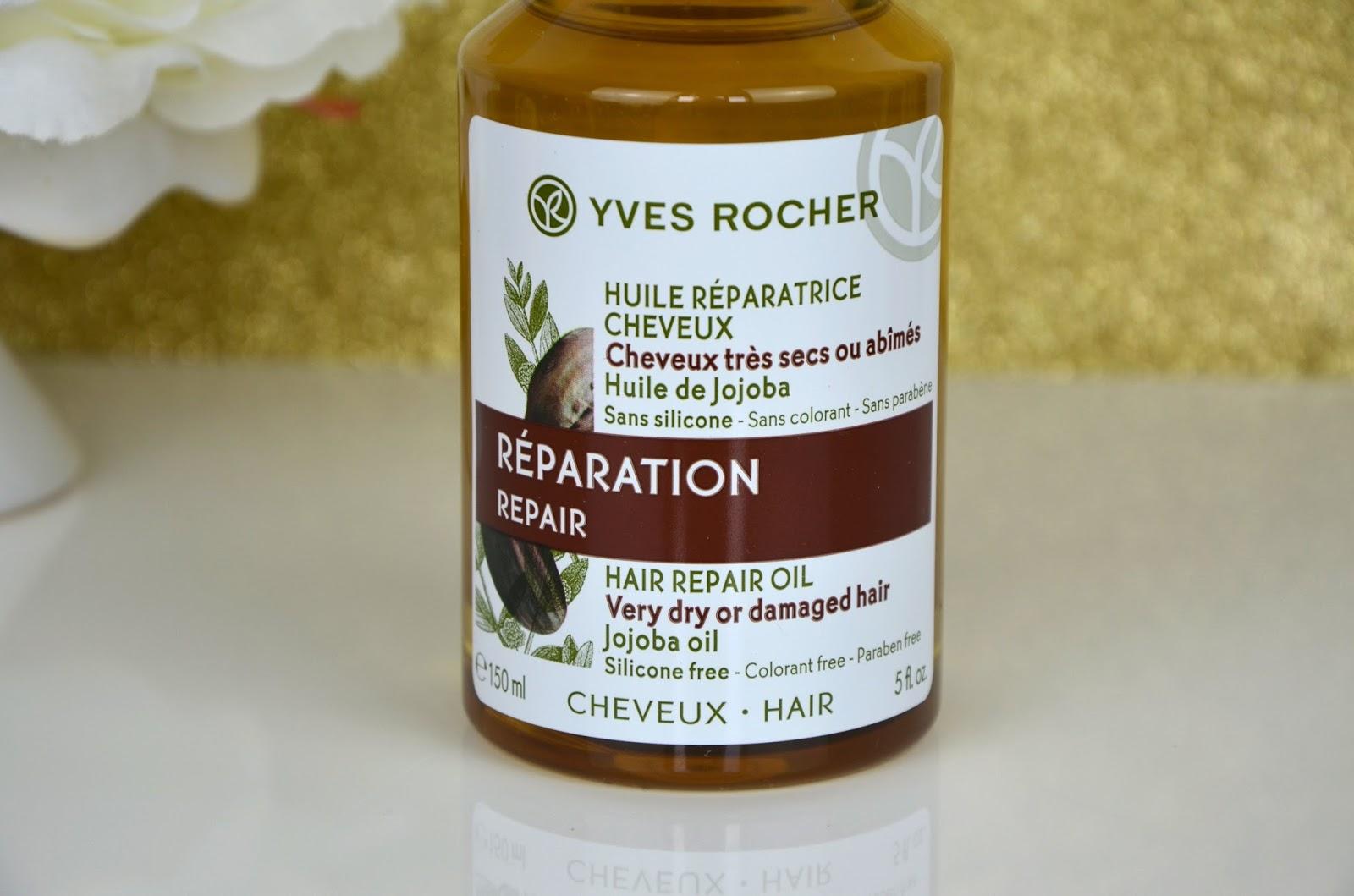 Huile réparatrice cheveux cheveux secs ou abimés sans paraben sans colorant sans silicone Yves Rocher