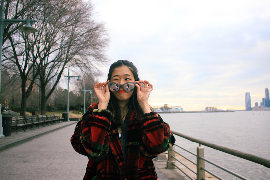 Winter oversize sunglasses winking coat NYC winter