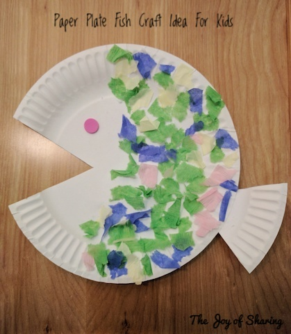Fish made using a paper plate multi-color paper pieces glue and preschool scissor. & The Joy of Sharing: Easy Paper Plate Animal Craft Ideas For Toddlers